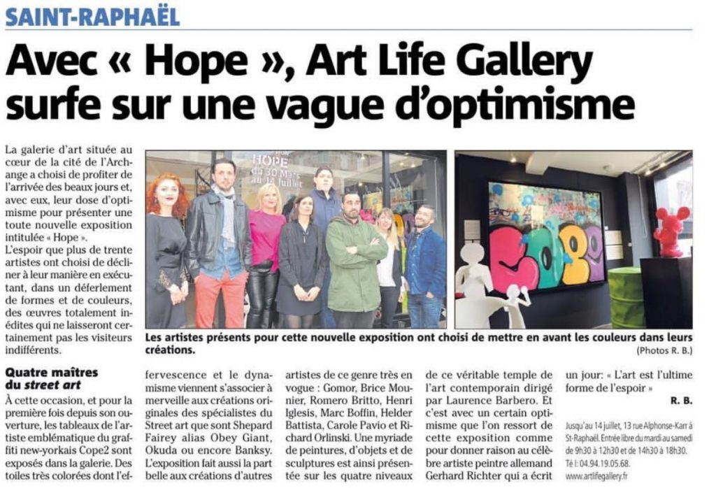 article var matin gomor exposition hope avec art life gallery