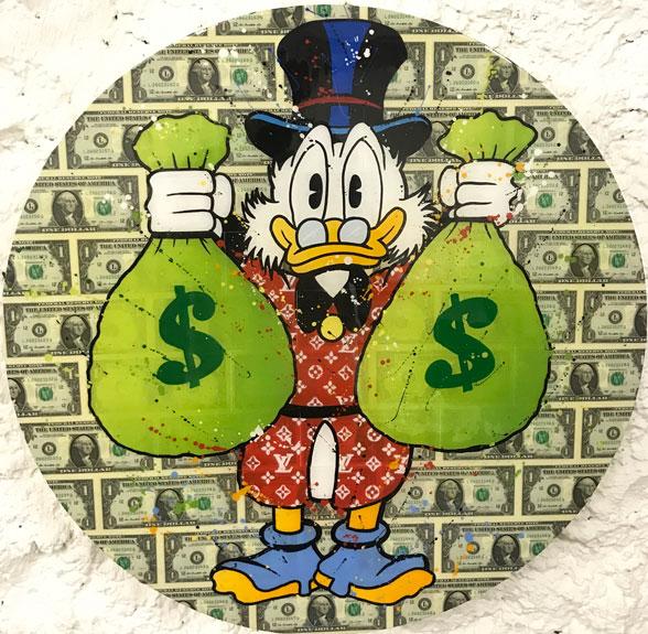 Money Bags oeuvre de gomor à la galerie art life pour l'exposition Winter Show