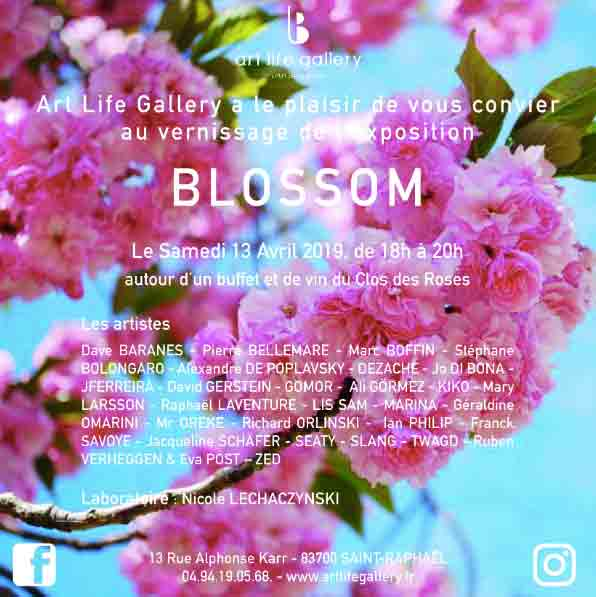 Flyer du vernissage de l'exposition blossom chez art life gallery